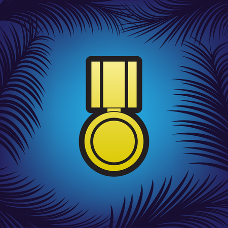 Medal sign illustration. Vector. Golden icon with black contour at blue background with branches of palm trees.