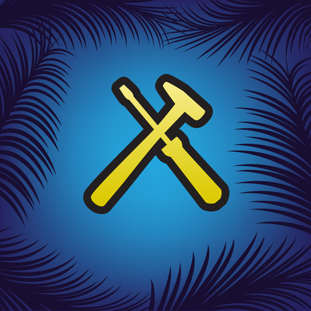 Tools sign illustration. Vector. Golden icon with black contour at blue background with branches of palm trees. Çizim