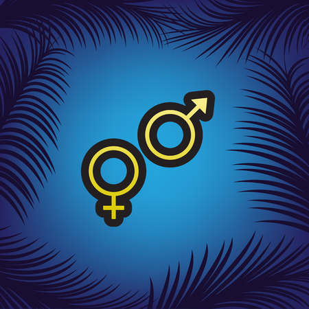 Sex symbol sign. Vector. Golden icon with black contour at blue background with branches of palm trees.