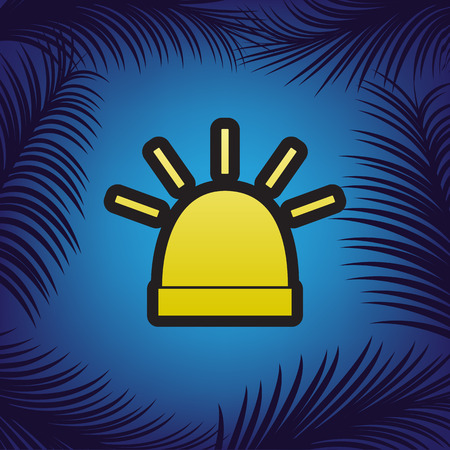 Police single sign. Vector. Golden icon with black contour at blue background with branches of palm trees.