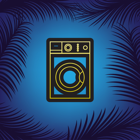 Washing machine sign. Vector. Golden icon with black contour at blue background with branches of palm trees.