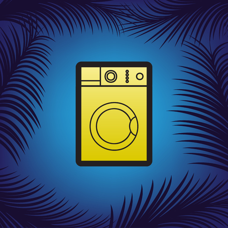 Washing machine sign. Vector. Golden icon with black contour at blue background with branches of palm trees. Vettoriali