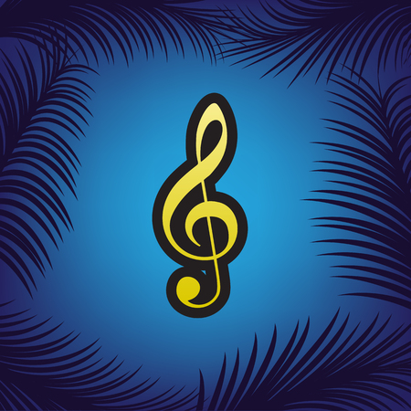 Music violin clef sign. G-clef. Treble clef. Vector. Golden icon with black contour at blue background with branches of palm trees.