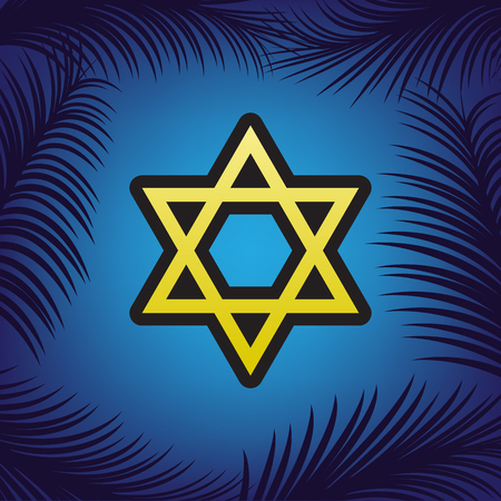 Shield Magen David Star. Symbol of Israel. Vector. Golden icon with black contour at blue background with branches of palm trees.