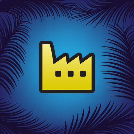 Factory sign illustration. Vector. Golden icon with black contour at blue background with branches of palm trees.