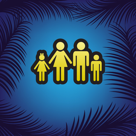 Family sign illustration. Vector. Golden icon with black contour at blue background with branches of palm trees. Ilustracja