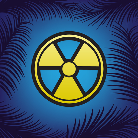Radiation Round sign. Vector. Golden icon with black contour at blue background with branches of palm trees.