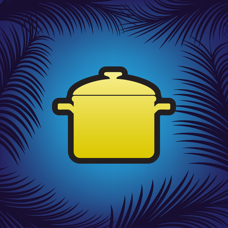 Cooking pan sign. Vector. Golden icon with black contour at blue background with branches of palm trees. Иллюстрация