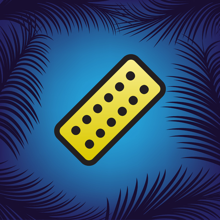 Medical Pills sign. Vector. Golden icon with black contour at blue background with branches of palm trees.