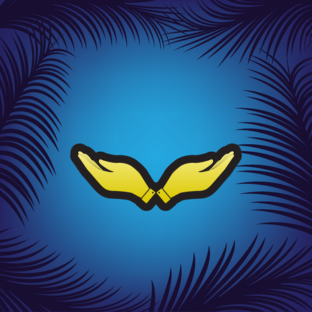 Hand sign illustration. Vector. Golden icon with black contour at blue background with branches of palm trees.