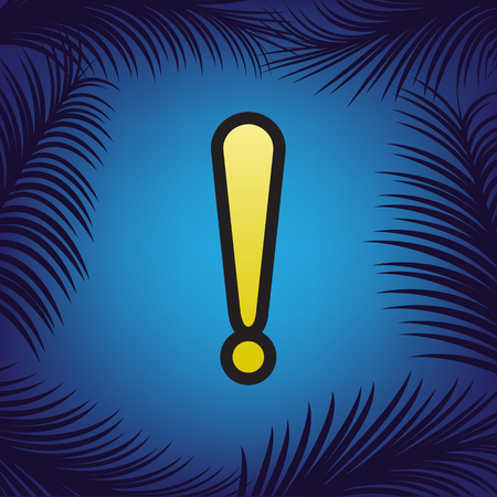 Attention sign illustration. Vector. Golden icon with black contour at blue background with branches of palm trees.