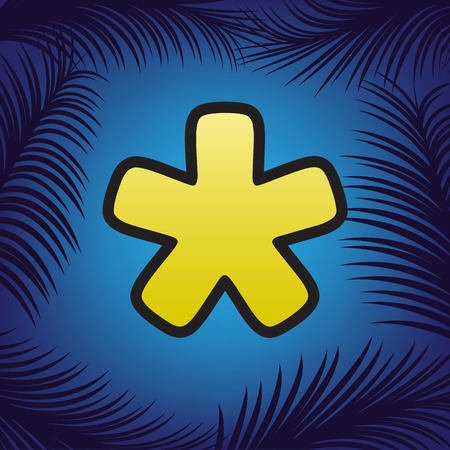 Asterisk star sign. Vector. Golden icon with black contour at blue background with branches of palm trees.