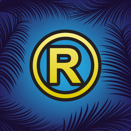 Registered Trademark sign. Vector. Golden icon with black contour at blue background with branches of palm trees.