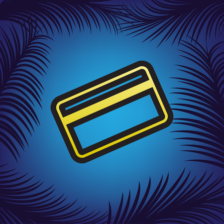 Credit card symbol for download. Vector. Golden icon with black contour at blue background with branches of palm trees. Illustration