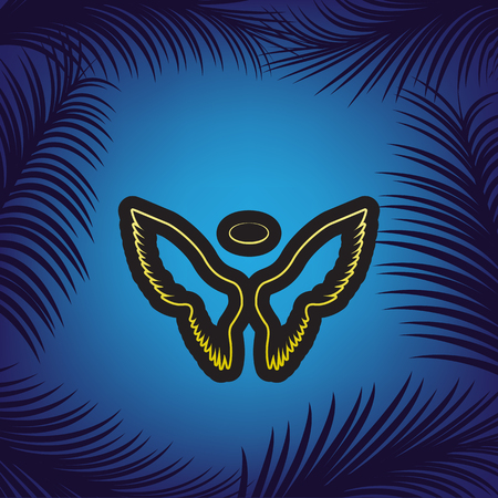 Wings sign illustration. Vector. Golden icon with black contour at blue background with branches of palm trees.