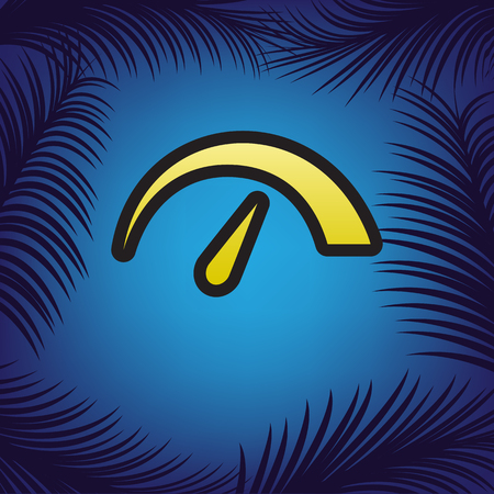 Speedometer sign illustration. Vector. Golden icon with black contour at blue background with branches of palm trees.