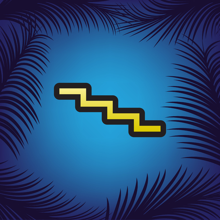 Stair down sign. Vector. Golden icon with black contour at blue background with branches of palm trees.