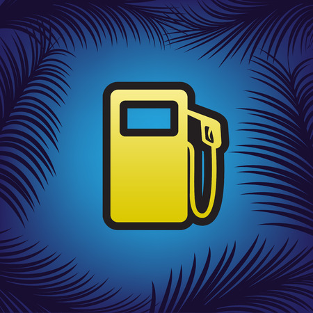 Gas pump sign. Vector. Golden icon with black contour at blue background with branches of palm trees.