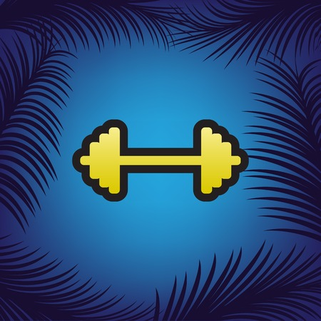 Dumbbell weights sign.