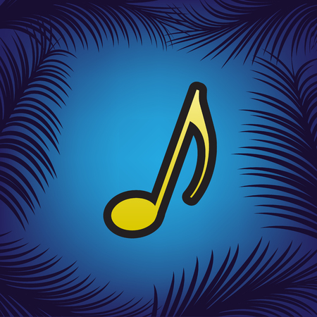 Music note sign. Vector. Golden icon with black contour at blue background with branches of palm trees. Illustration