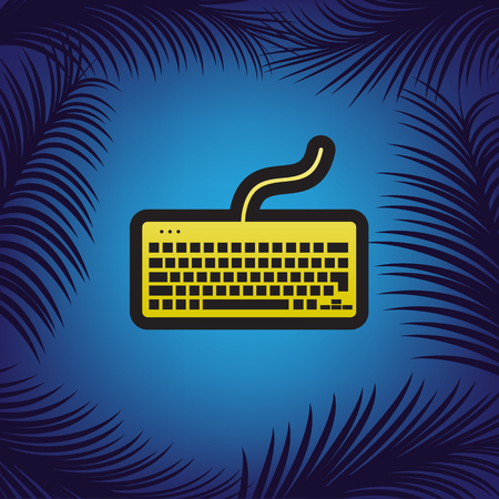 Keyboard simple sign. Vector. Golden icon with black contour at blue background with branches of palm trees.