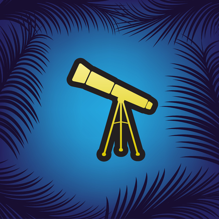Telescope simple sign. Vector. Golden icon with black contour at blue background with branches of palm trees.