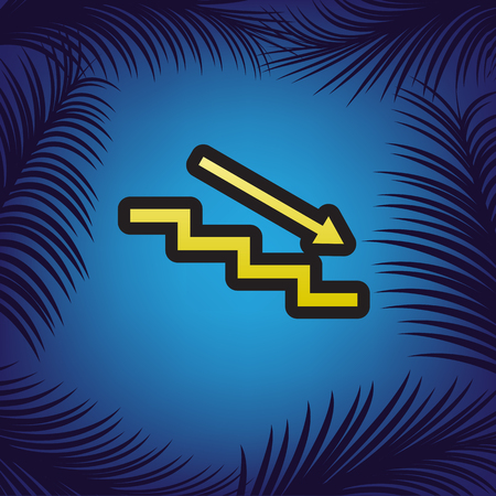 Stair down with arrow. Vector. Golden icon with black contour at blue background with branches of palm trees. Illustration