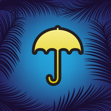 Umbrella sign icon. Rain protection symbol. Flat design style. Vector. Golden icon with black contour at blue background with branches of palm trees.