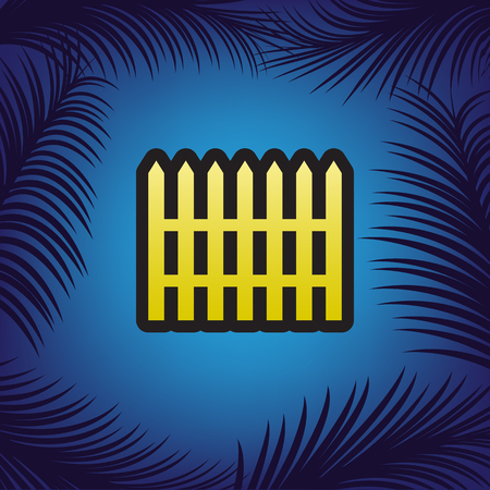 Fence simple sign. Vector. Golden icon with black contour at blue background with branches of palm trees.