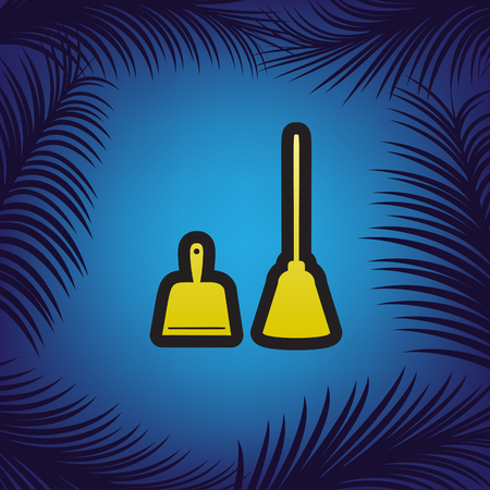 Dustpan sign. Scoop for cleaning garbage housework dustpan equipment. Vector. Golden icon with black contour at blue background with branches of palm trees.