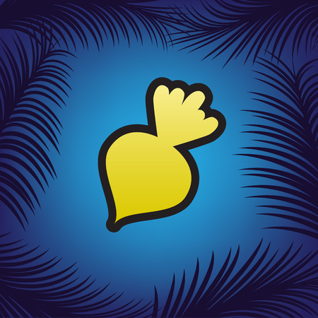 Beet simple sign. Vector. Golden icon with black contour at blue background with branches of palm trees.
