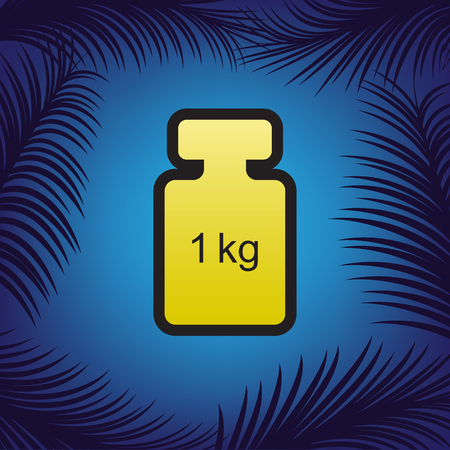 Weight simple sign. Vector. Golden icon with black contour at blue background with branches of palm trees.
