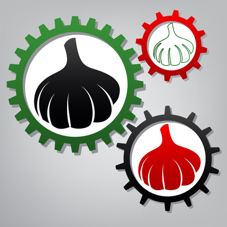 Garlic simple sign. Vector. Three connected gears with icons at grayish background.