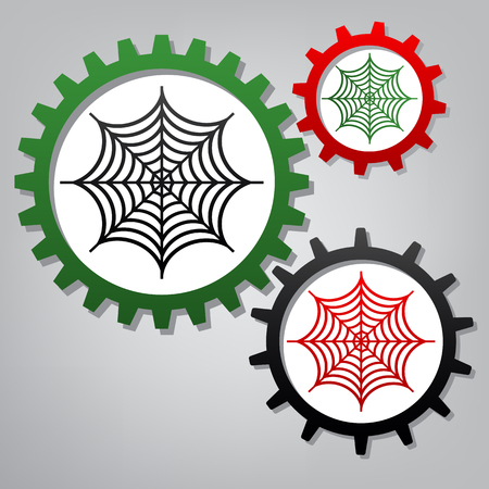 Spider on web illustration. Vector. Three connected gears with icons at grayish background.