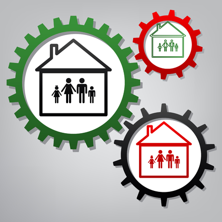 Family sign illustration. Vector. Three connected gears with icons at grayish background.