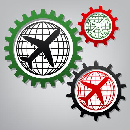Globus und Flugzeug Reiseschild. Vektor. Drei verbundene Zahnräder mit Symbolen am grauen Hintergrund.