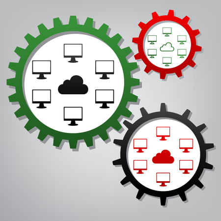 Computers nerk sign. Vector. Three connected gears with icons at grayish background.
