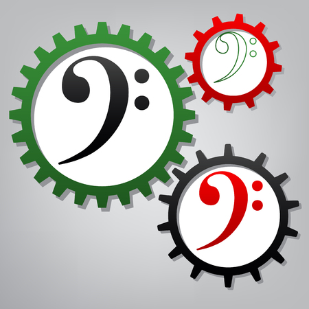 Cube sign illustration. Vector. Three connected gears with icons at grayish background.
