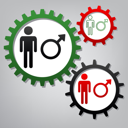 Male sign illustration. Vector. Three connected gears with icons at grayish background.