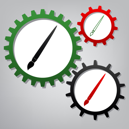 Brush sign illustration. Vector. Three connected gears with icons at grayish background. 向量圖像