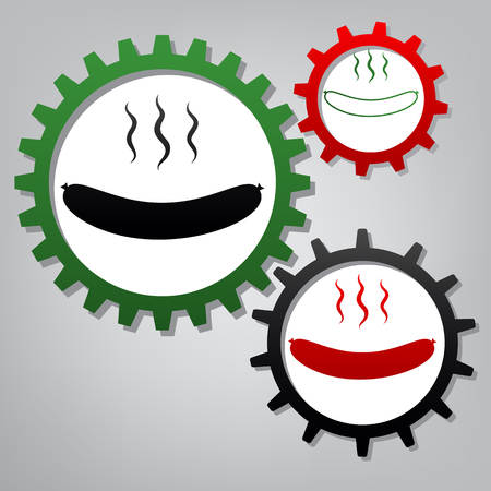 Sausage simple sign. Vector. Three connected gears with icons at grayish background.