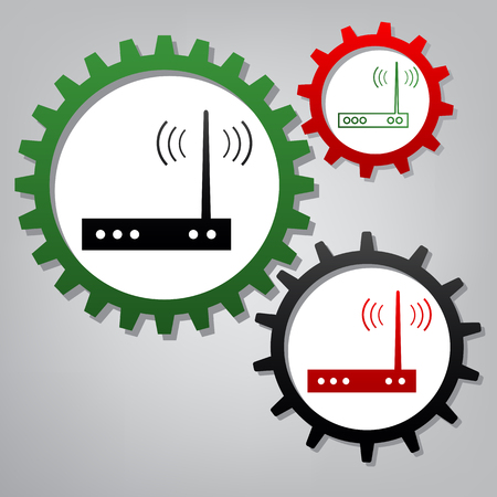 Wifi modem sign. Vector. Three connected gears with icons at grayish background.