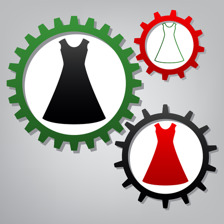 Beautiful long dress sign. Vector. Three connected gears with icons at grayish background.