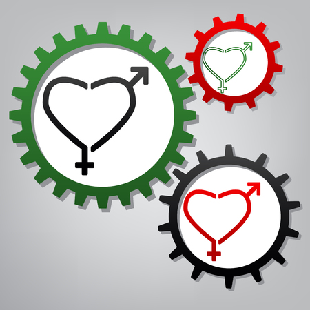 Gender signs in heart shape. Vector. Three connected gears with icons at grayish background.