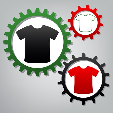 T-shirt sign. Vector. Three connected gears with icons at grayish background.