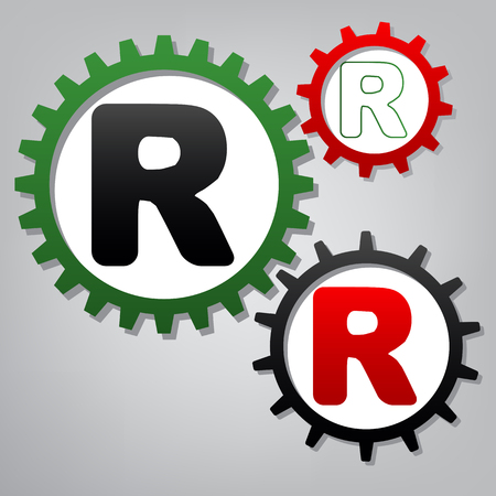 Letter R sign design template element. Vector. Three connected gears with icons at grayish background. Ilustração