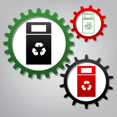 Trashcan sign illustration. Vector. Three connected gears with icons at grayish background.