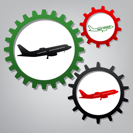 Flying Plane sign. Side view. Vector. Three connected gears with icons at grayish background.