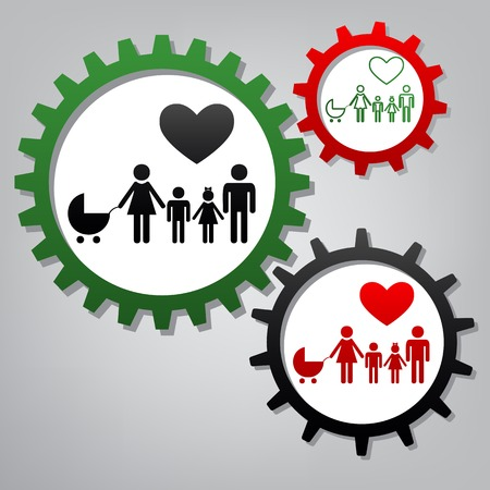 Family sign with heart. Husband and wife are kept childrens hands. Vector. Three connected gears with icons at grayish background.