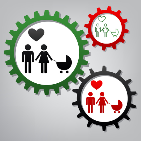 Family symbol with pram and heart. Husband and wife are kept each others hands. Love. Vector. Three connected gears with icons at grayish background.